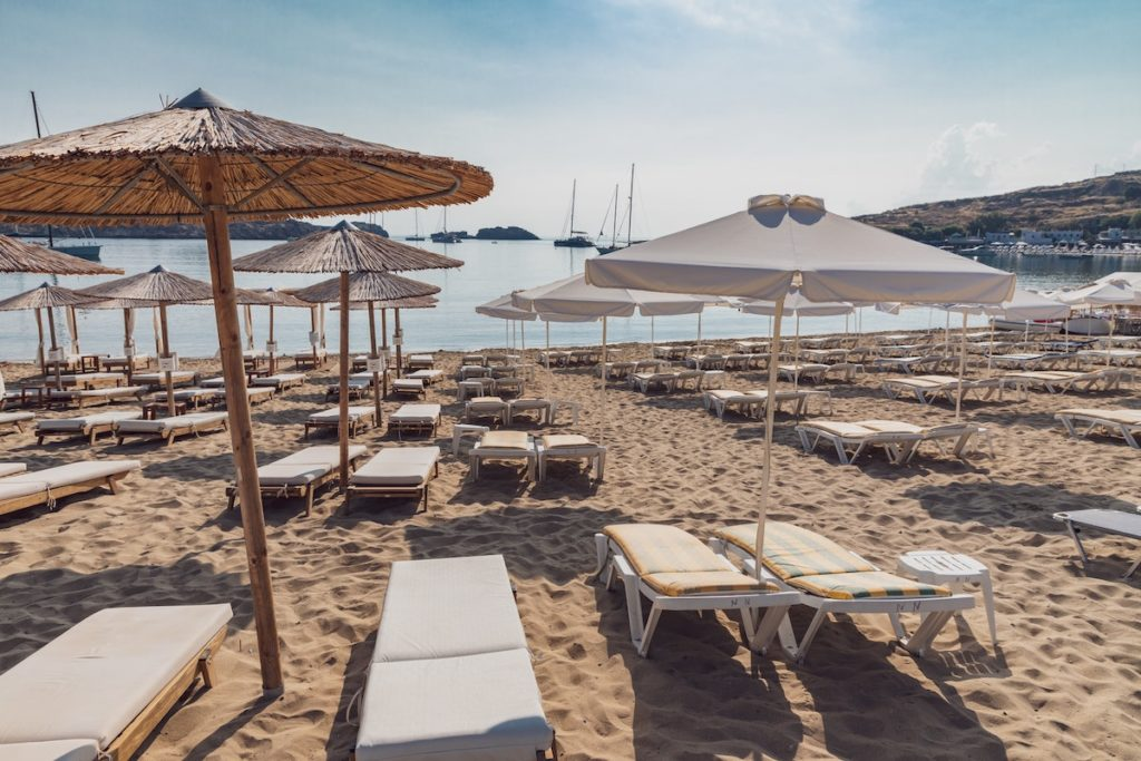 umbrella sunbeds Lindos sandy Beach