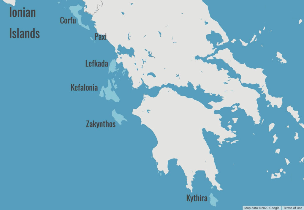 Map of Ionian Islands
