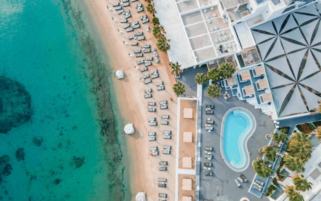 Ornos beach aerial view